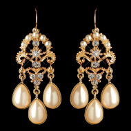 Gold Plated Ivory Pearl Bridal and Bridesmaid Earrings