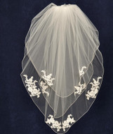 Three Tier Wedding Veil with Alencon Lace Appliques V6181