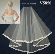 Two Tier Wedding Veil with Beaded Alencon Lace V5850