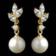 Gold Plated Marquise CZ and Diamond White Pearl Wedding Earrings