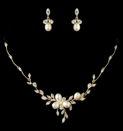 Freshwater Pearl and CZ Gold or Rose Gold Wedding Jewelry Set - sale!