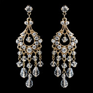 Crystal and Rhinestone Gold Plated Chandelier Earrings