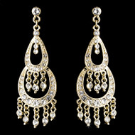 Rhinestone Gold Plated Chandelier Earrings