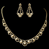Gold Plated Ivory Pearl and Rhinestone Wedding Jewelry Set