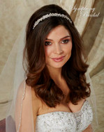 Dainty Pearl Wedding Headband Symphony Bridal 7722CR