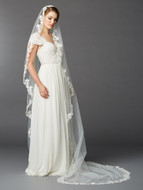 Delicately Beaded Lace Mantilla Cathedral Wedding Veil 4423V