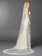 Dramatic Beaded Lace Cathedral Wedding Veil 4422V