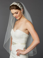 Fingertip Wedding Veil Mariell 4421V-I-S with Silver Lace Headpiece
