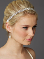 Slender Crystal Cluster Ribbon Wedding Headband