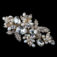 Gold Freshwater Pearl and Rhinestone Wedding Hair Clip