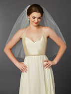 Gold Pencil Edge Elbow Wedding Veil Mariell 4434V-30