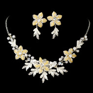 Silver Plated Ivory Floral Wedding Jewelry Set