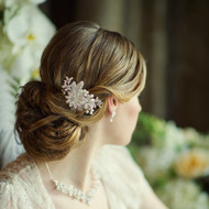 Ivory Pearl and Crystal Floral Wedding Hair Comb  in  Silver - sale!