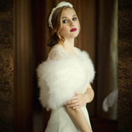 Vintage Inspired Ivory Marabou Feather Bridal Shrug Wrap