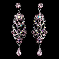 Light Amethyst Crystal Chandelier Wedding Earrings