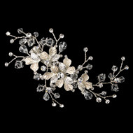 Silver Vine and Crystal Wedding Hair Clip