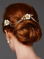 Romantic Enamel Flower Gold Bridal Comb with Crystal Swags