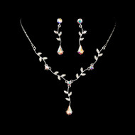 2 Sets Silver AB Crystal Floral Bridesmaid Jewelry