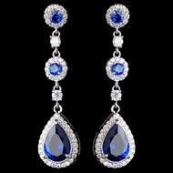 Sapphire Blue CZ Drop Wedding and Formal Earrings