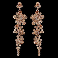 Rose Gold Peach Rhinestone Drop Wedding and Prom Earrings