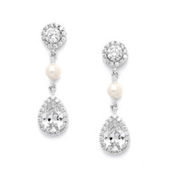 CZ and Freshwater Pearl Wedding Earrings