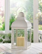 4 Large White Gable Candle Lantern Wedding Centerpieces