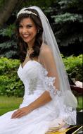 Fingertip Wedding Veil with Beaded Lace Edge V1556