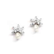 Freshwater Pearl and CZ Stud Wedding Earrings