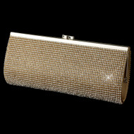 Gold Rhinestone Covered Evening Bag Clutch