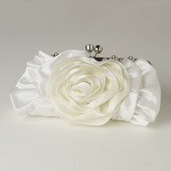 Cream Floral Rose Wedding Purse with Rhinestones