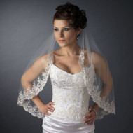 Ivory Beaded Lace Elbow Length Wedding Veil V2089