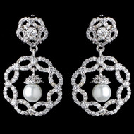 Diamond White Pearl and CZ Drop Bridal Earrings