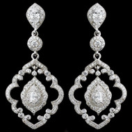 Vintage Look CZ Teardrop Dangle Bridal Earrings
