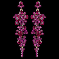Gold Fuchsia Rhinestone Drop Wedding and Prom Earrings
