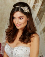 Gold or Silver Floral Headband Symphony Bridal 7710cr