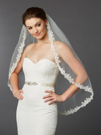 Sculpted Lace Mantilla Fingertip Length Wedding Veil