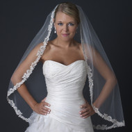 Ivory Fingertip Length Wedding Veil with Rum Blush Lace