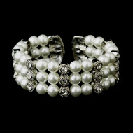 White Pearl and Rhinestone Wedding Cuff Bracelet