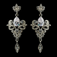 Antique Silver Vintage Inspired CZ Wedding Earrings