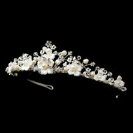 Floral Freshwater Pearl and Crystal Bridal Tiara hp9015