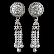 Great Gatsby Style Pearl and Rhinestone Wedding Earrings