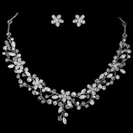 Crystal and Rhinestone Floral Vine Wedding Jewelry Set
