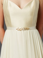 Gold and Ivory Tea Rose Wedding Dress Sash Belt