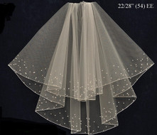 Pearl and Rhinestone Beaded  Two Tier Elbow Wedding Veil