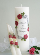 Vintage Red Rose and Crystal Personalized Wedding Unity Candle Set