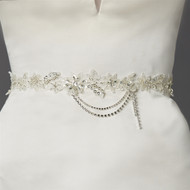 Ivory Beaded Lace Wedding Dress Sash Belt