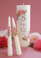 Pink Bouquet Personalized Wedding Unity Candle Set