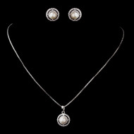 Antique Silver Plated Diamond White Pearl and CZ Bridal Jewelry Set
