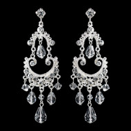 Silver Plated Crystal Chandelier Formal and Wedding Earrings