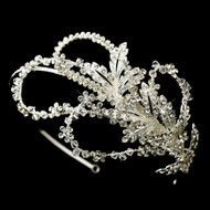Extravagant Side Accent Crystal Leaf Wedding Headband